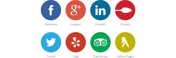 Facebook, Google+, LinkedIn, Zomato, Twitter, Yelp, TripAdvisor, Yellow Pages